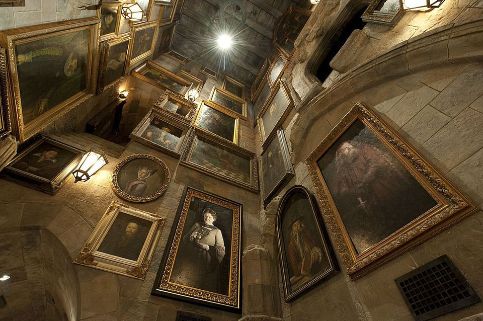 In this handout image provided by Universal, just like the Harry Potter films, portraits line the walls of Hogwarts castle, the home of Harry Potter and the Forbidden Journey - the marquee attraction of The Wizarding World of Harry Potter