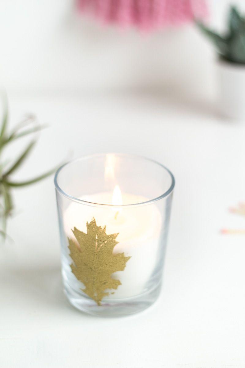 DIY Embossed Autumn Leaf Candle