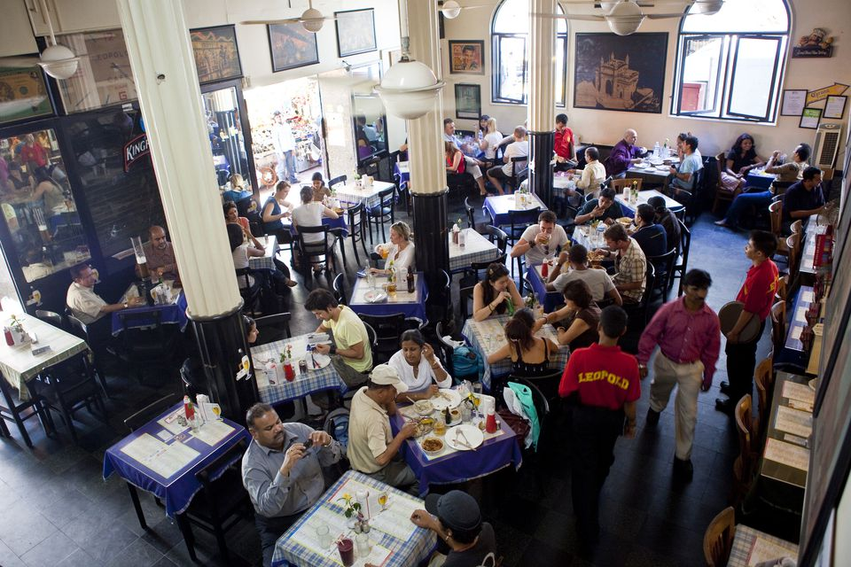 Inside Leopold's Cafe, Mumbai.