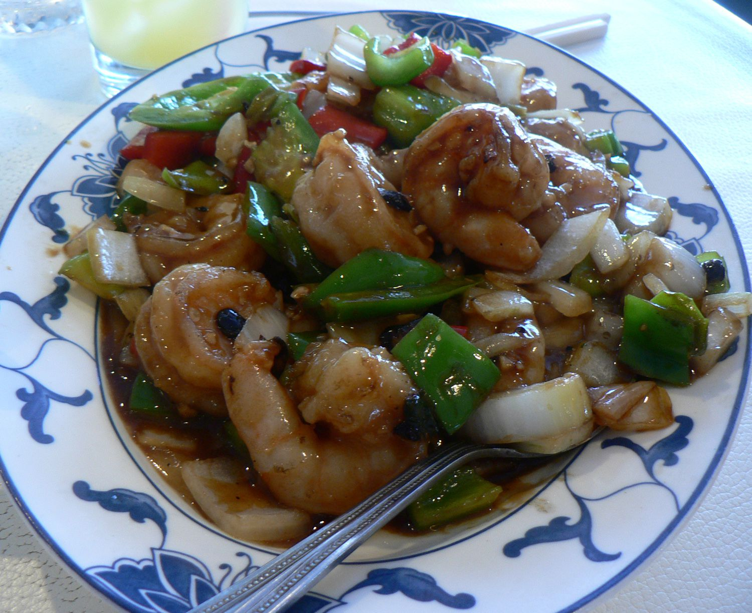 Stir-fry Shrimp in Black Bean Sauce Recipe With Green Onions