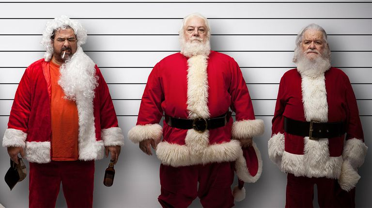 Santas in a police lineup