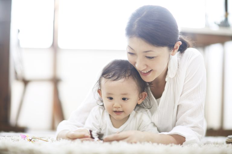 Japanese baby and mom