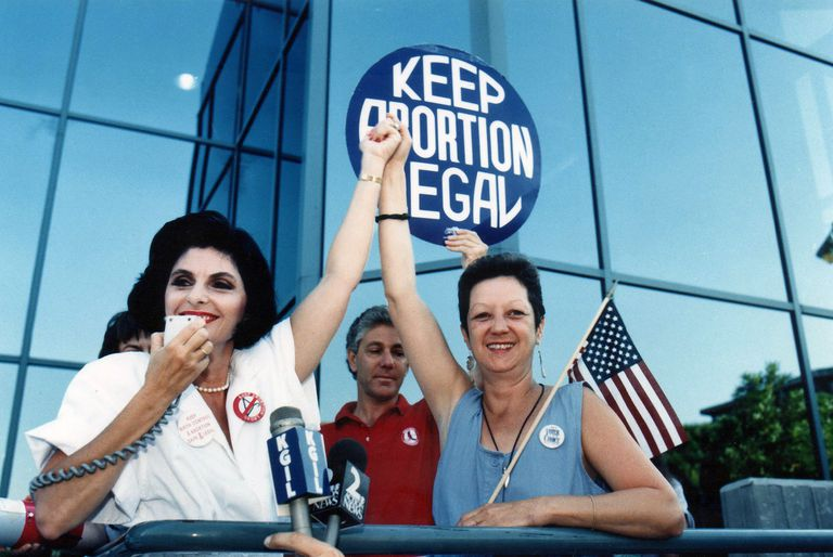 Gloria Allred and Norma McCorvey at a 1989 Pro Choice Rally