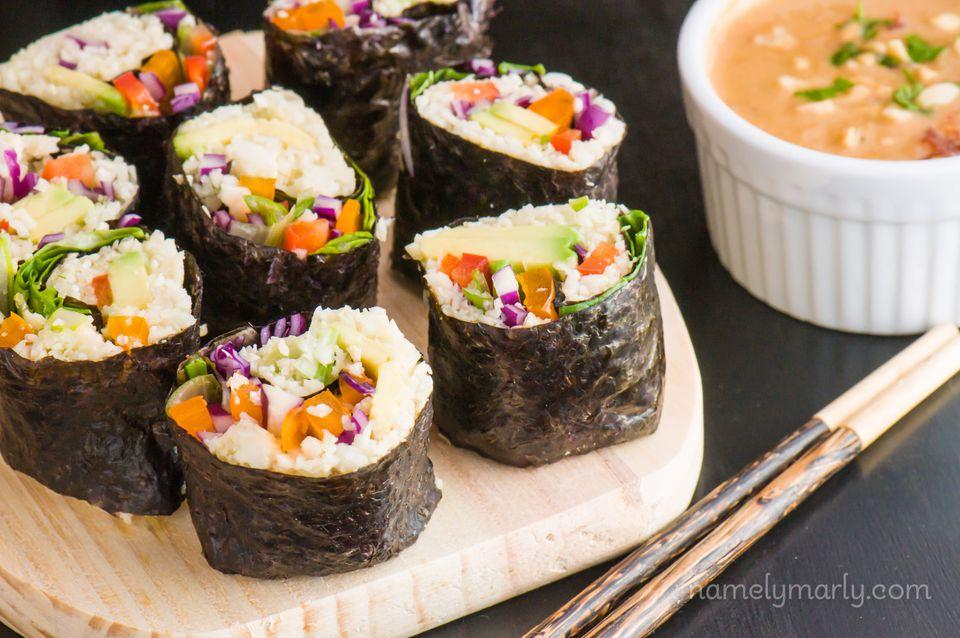 Vegan Sushi with Cauliflower Rice