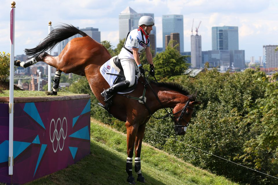 Zara Phillips of Great Britain riding High Kingdom negotiates an obstacle in the Eventing Cross Country Equestrian event on Day 3 of the London 2012 Olympic Games