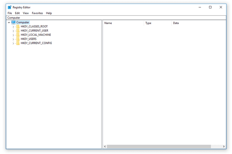 Screenshot of the registry hives in the Windows 10 Registry Editor