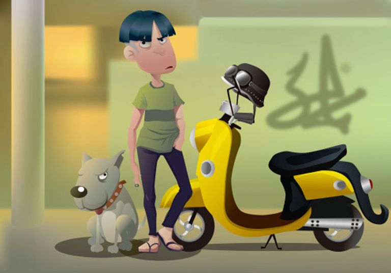Young Male Punk With Scooter and dog