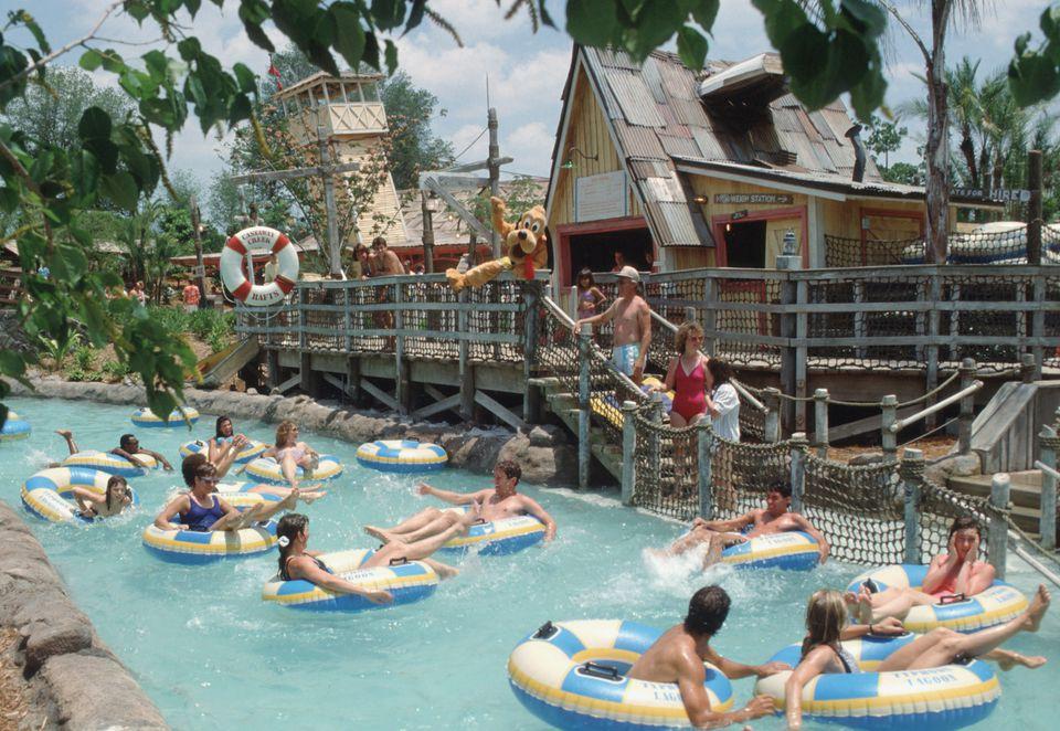 Water park guests enjoying the lazy river at Disney's Typhoon Lagoon.