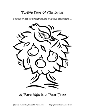 the first day of christmas coloring page - Christmas Pictures Coloring