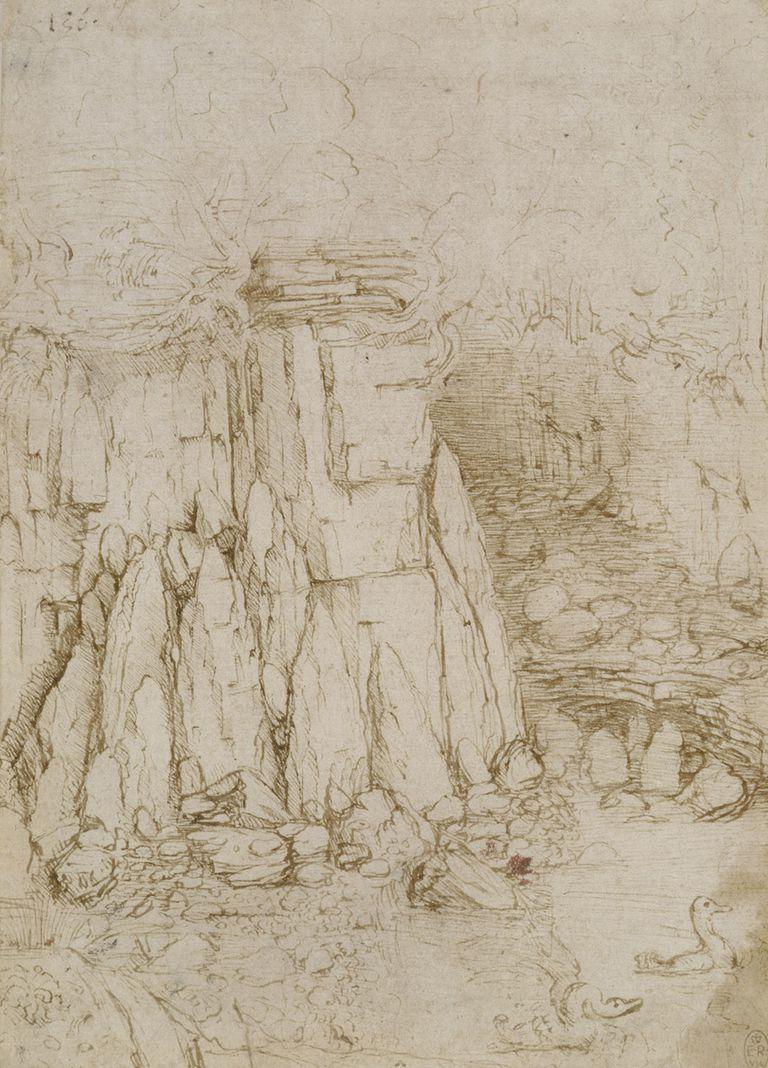 Leonardo da Vinci - A Rocky Ravine, ca. 1475-80