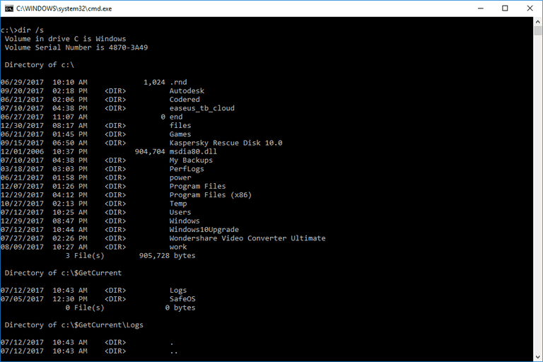 Screenshot of the dir Command in a Windows 10 Command Prompt