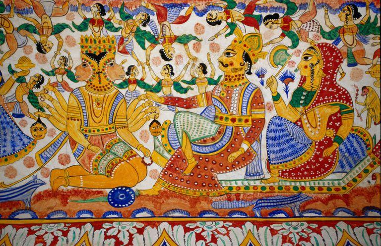 Lord Hanuman with Ram and Sita, depicting an episode from Ramayana, Sigtia haveli, around 1880).