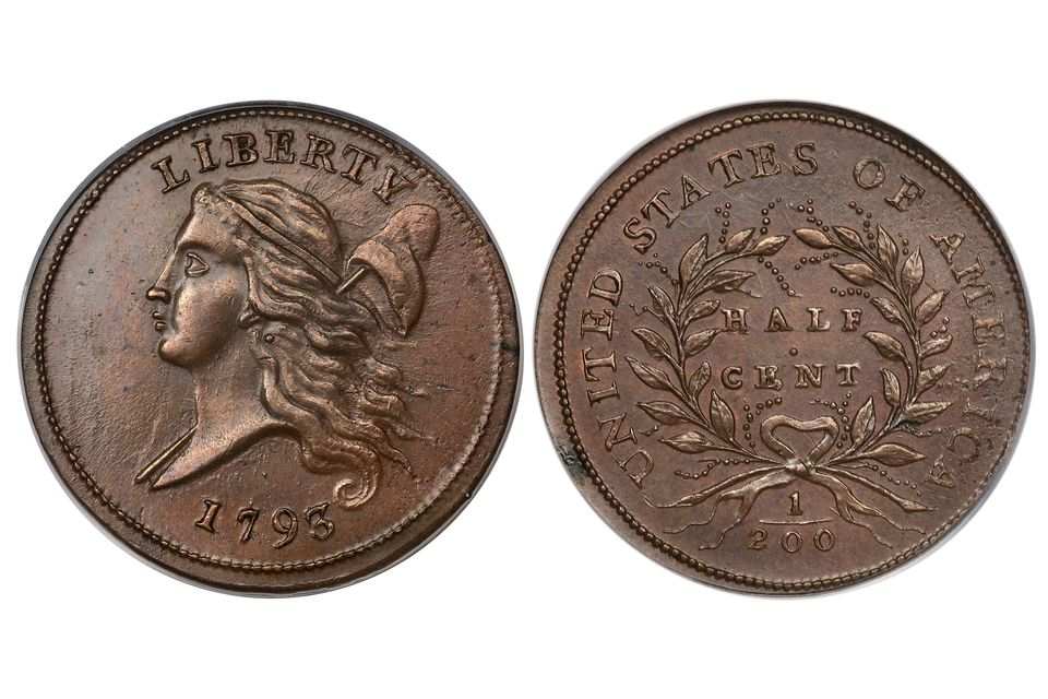 1793 United States Half Cent Both Obverse and Reverse Images