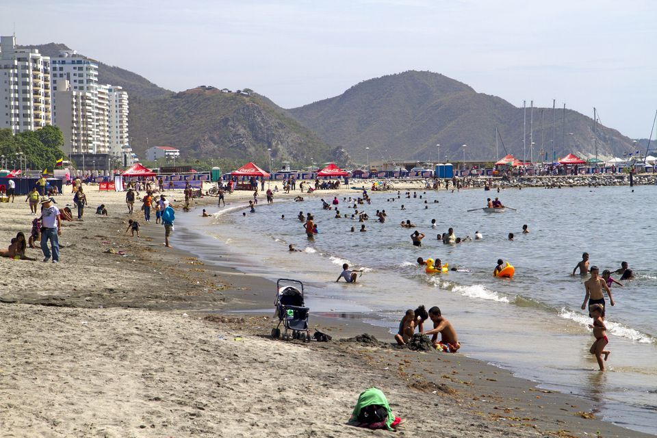 Beachgoers at Santa Marta
