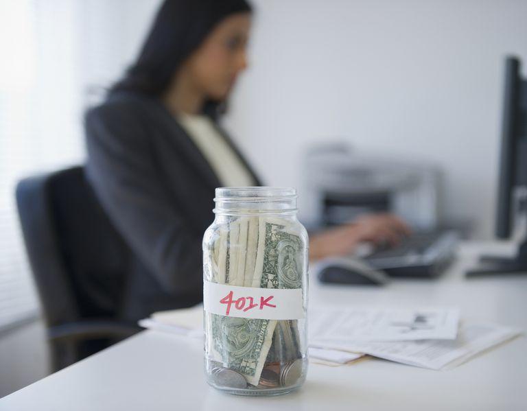 Cash in a jar marked 401k