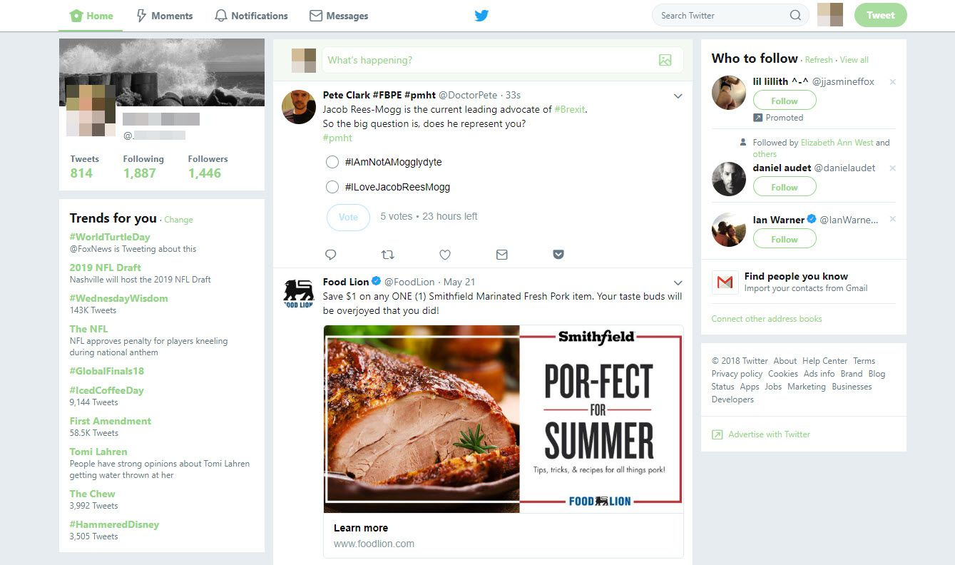 A screenshot from Twitter showing how information is shared in real time and how marketing on Twitter works.