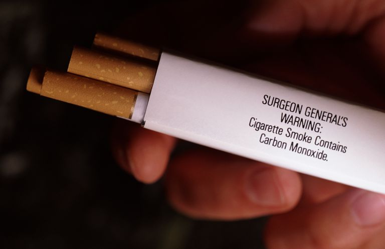 cigarette carton with warning