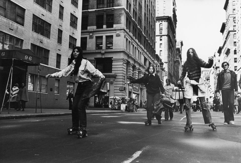 New Yorkers rollerskate to work to do their bit for environmentalism during the first Earth Day, 22nd April 1970.