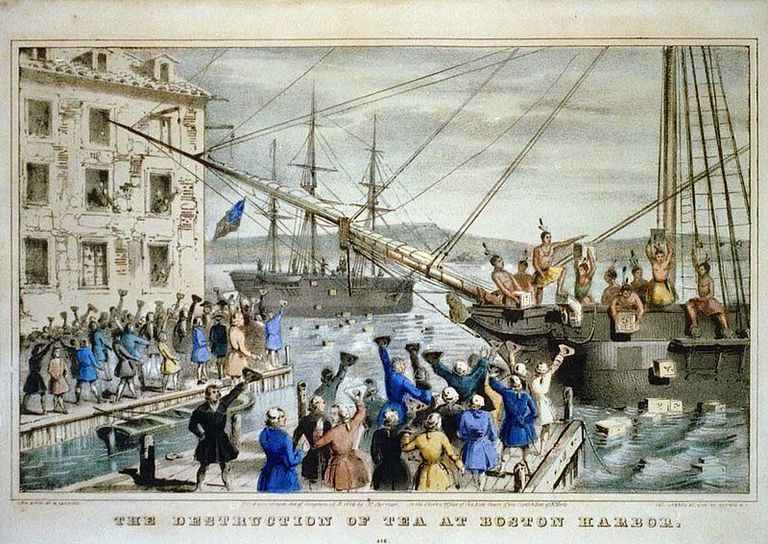 The Destruction of Tea at Boston Harbor by Nathaniel Currier
