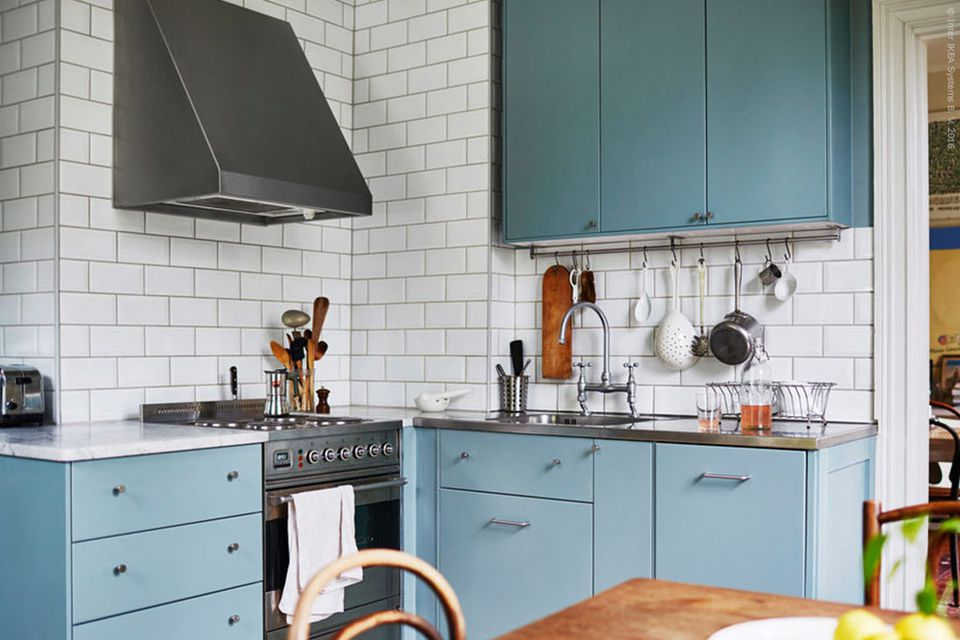 Blue Cabinets Stainless Steel Accents