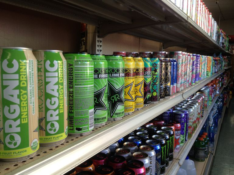 energy drinks and sodas on a store shelf