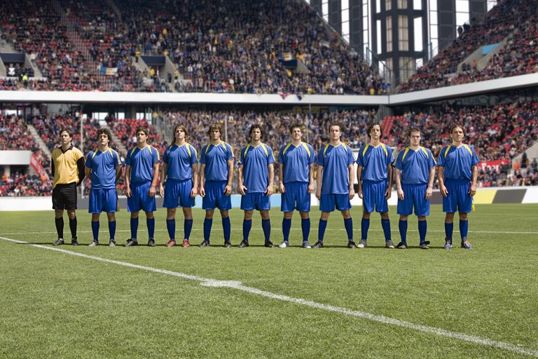 Footballers in a row
