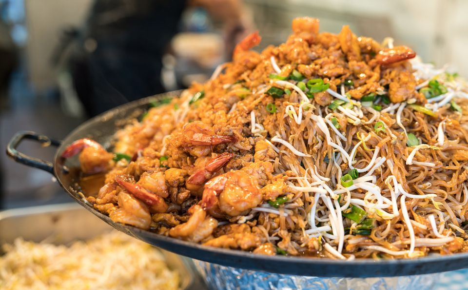Pad Thai served on the street, Thailand