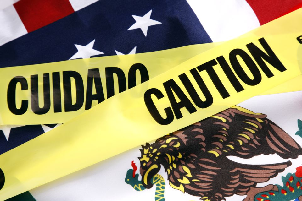 Caution tape and flags