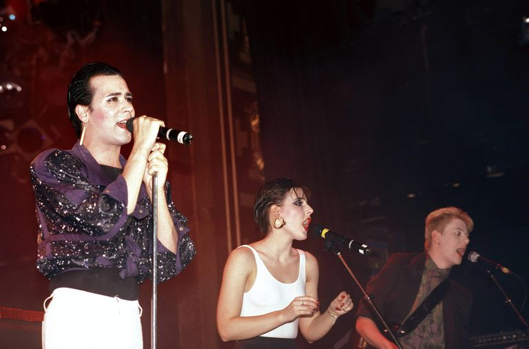 English synth pop group The Human League performs live in late 1981.