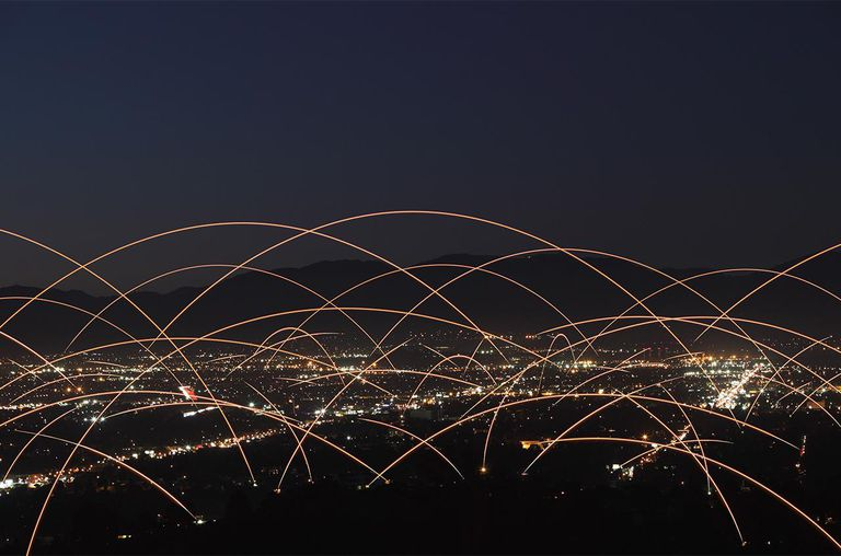 Light Trails Over City