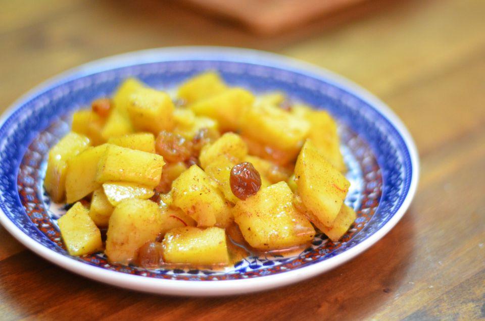 sweet potato salad with syrup and raisins