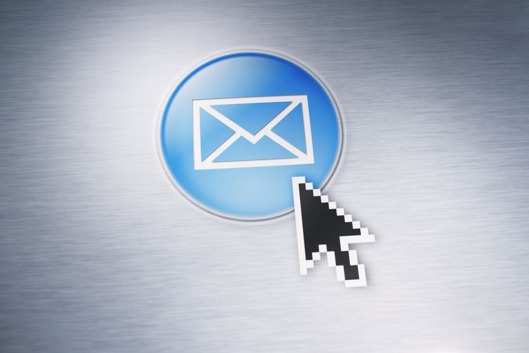 computer pointer on mail button