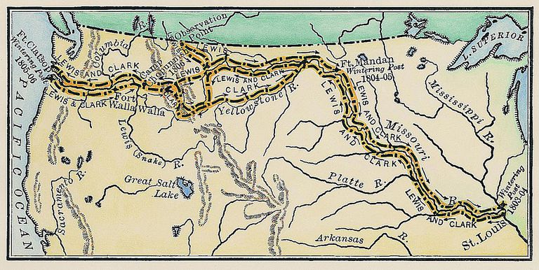 Map of the Lewis & Clark Expedition.