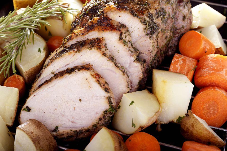 pork roast, potatoes and carrots