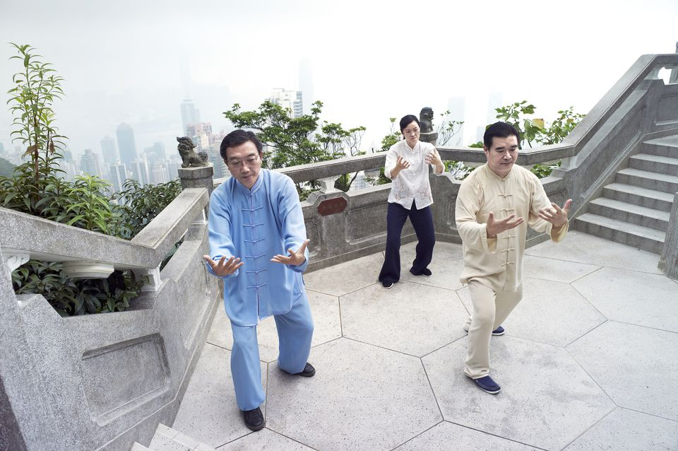 A Tai Chi Master and his students practice martial arts