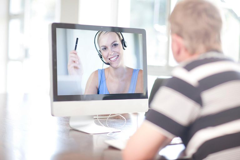 Man using computer for video call