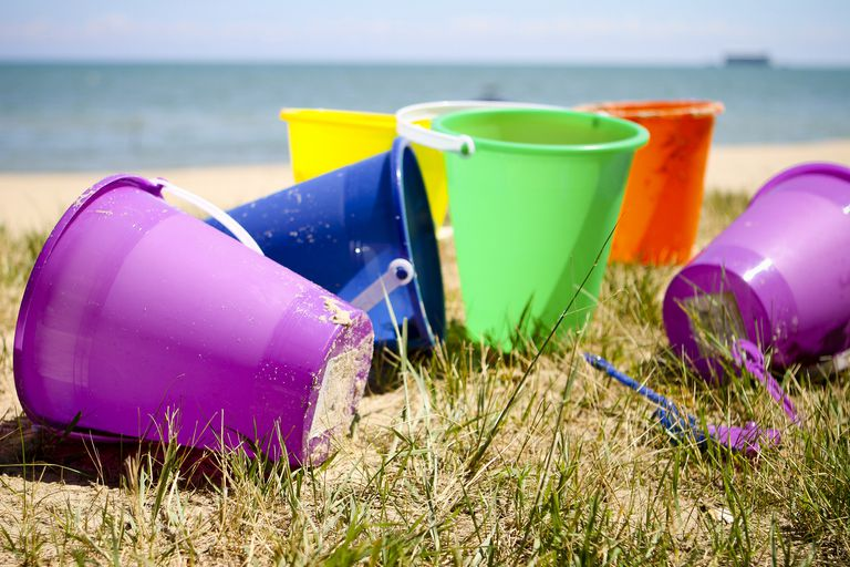 The kids sand buckets when we stayed on the beach.