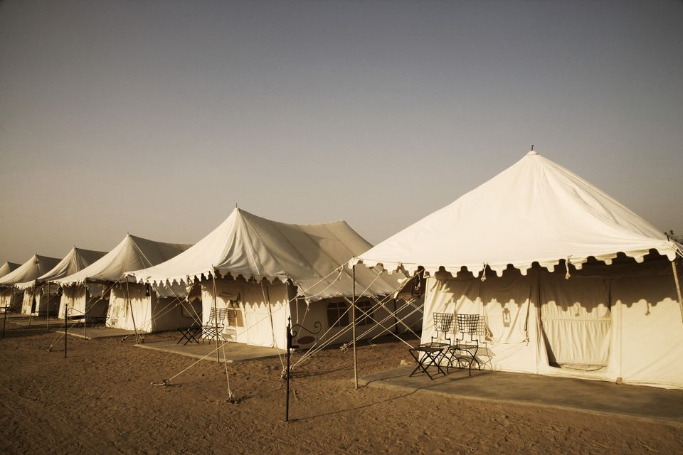 Tents on a landscape, Jaisalmer, Rajasthan, India
