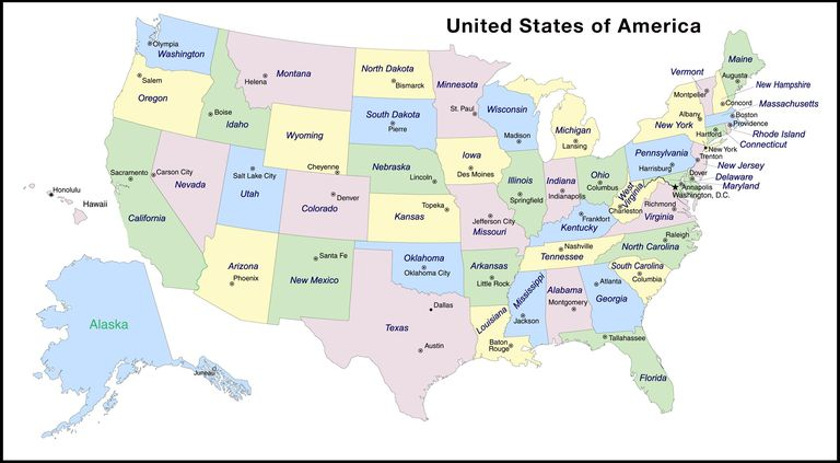 States And Capitals Of The United States Labeled Map - States map of united states