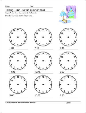 math worksheets telling time to the quarter hour. Black Bedroom Furniture Sets. Home Design Ideas