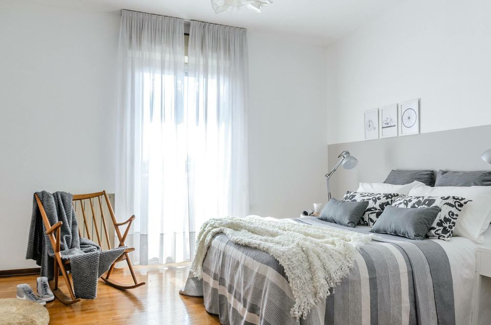 Bedroom with grey colors