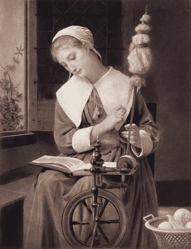 Colonial Woman Spinning Yarn