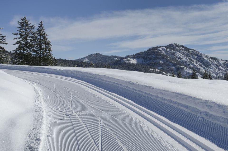 Groomed cross-country ski tracks