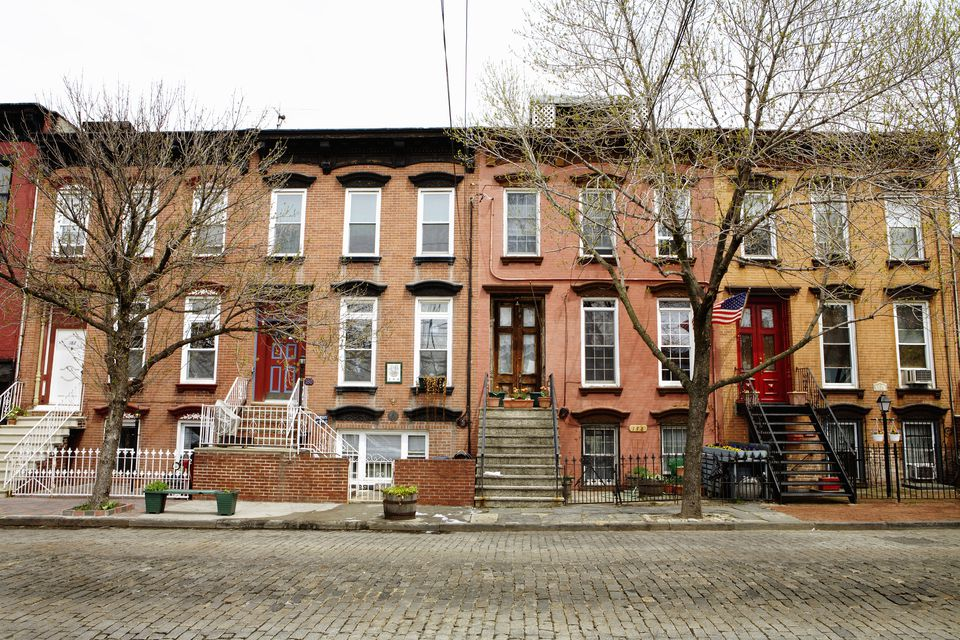 Brownstone townhouses in Brooklyn, NY.