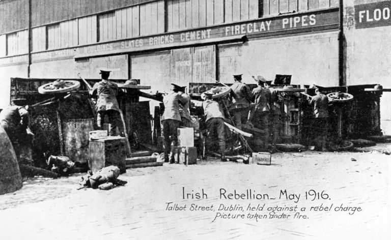 English troops under fire during the Easter Rising.