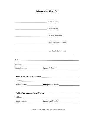 Basic Information Worksheet for Foster Care Binder