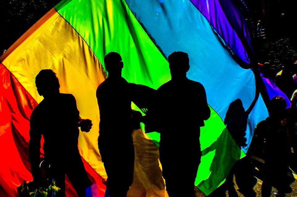 Gay pride parade flag