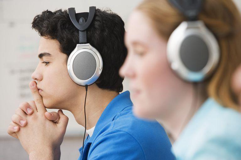 Teenage Boy and Girl with Headphones