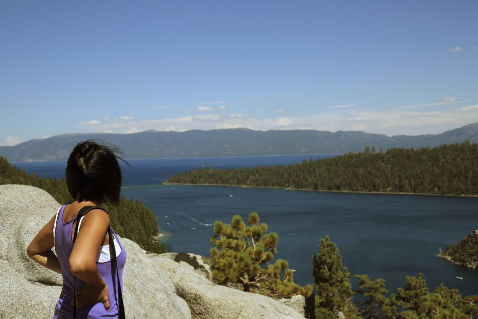 Woman taking looking at Lake Tahoe