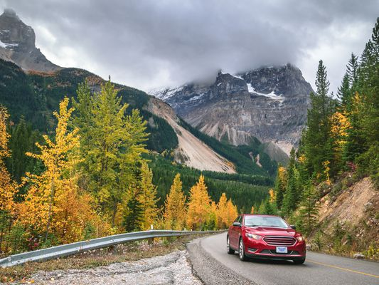 Autumn Drive in Rocky Mountains, Yoho Valley Road, Yoho National Park, British Columbia, Canada